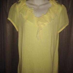 Carolyn Taylor Yellow Top Shirt Large Ruffle Neck